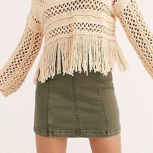 Free People Modern Femme Army Green. Mini Skirt
